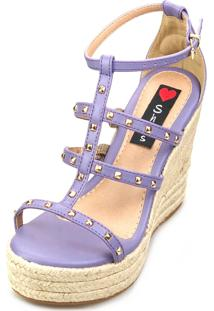 Anabela Alta Love Shoes Espadrille Corda Spikes Tiras Roxo
