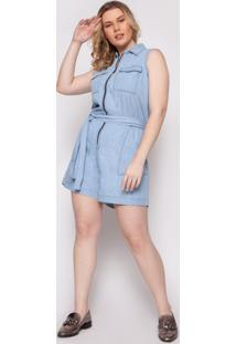 Macaquinho Almaria Plus Size Izzat Vienne Viscose Jeans Claro