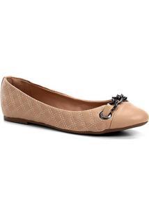 Sapatilha Shoestock Matelassê Corrente Feminina - Feminino-Bege