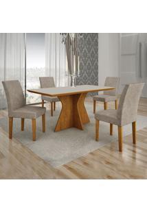 Conjunto De Mesa De Jantar Creta Ii Com 4 Cadeiras Olímpia Suede Off White E Marrom