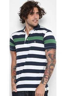 Camisa Polo Aleatory Listrada Fio Tinto Masculina - Masculino