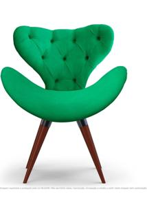 Poltrona Com Capitonê Decorativa Cadeira Egg Verde Com Base Fixa De Madeira