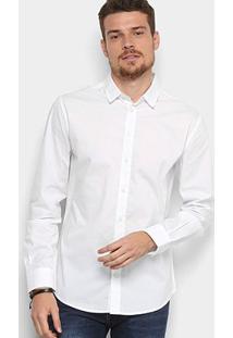 Camisa Manga Longa Colcci Slim Elastano Masculina - Masculino-Branco