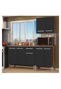 Cozinha Compacta Madesa Emilly Free Com Armário E Balcão - Rustic/Preto Cor:Rustic/Preto