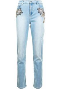 Twinset Calça Jeans Cropped Com Aplicações - Azul