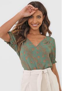 Blusa Maria Filã³ Floral Jade Verde - Verde - Feminino - Poliã©Ster - Dafiti