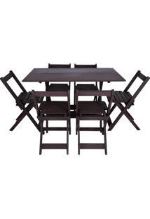 Conjunto Gourmet Dobrável Mesa E 6 Cadeiras Entalharte 120.6