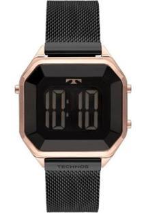Relógio Technos Crystal Digital Aço 38Mm Feminino - Feminino-Preto