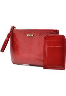 Carteira Hendy Bag Couro De Mão Vermelho