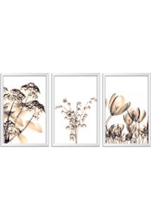 Quadro Oppen House 60X120Cm Flores Abstrato Transparentes Moldura Branca Estilo Raio X Decorativo Interiores Mod:Oh0018