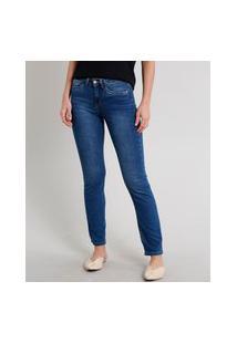 Calça Jeans Feminina Reta Com Bolsos Azul Escuro