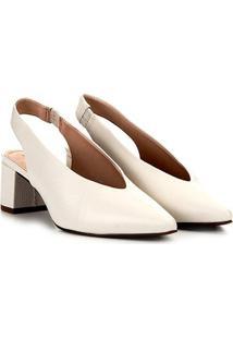 Scarpin Couro Loucos & Santos Salto Baixo Chanel - Feminino-Branco