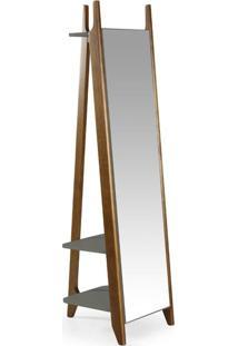 Espelho De Chão 2 Prateleiras Stoka Maxima Nogal/Cinza