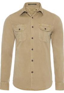 Camisa Masculina Utilitária Khaki - Bege