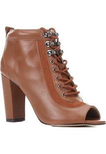 Ankle Boot Couro Shoestock Hiking Salto Alto Feminina - Feminino-Marrom