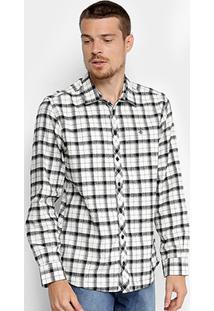Camisa Forum Xadrez Smooh Masculina - Masculino-Branco+Preto