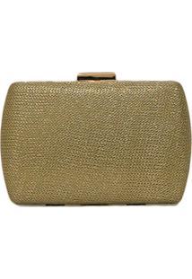 Clutch Lisbella Textura Metalizada Dourado
