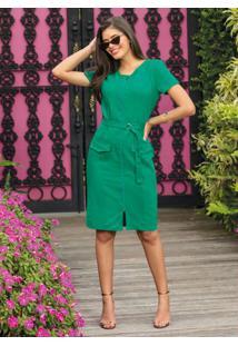 Vestido De Sarja Verde Com Zíper Moda Evangélica