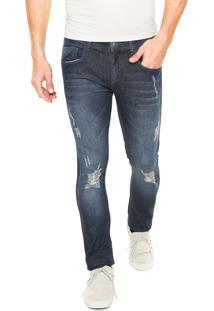 Calça Jeans Opera Rock Slim Destroyed Azul