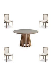 Conjunto Mesa Tampo Off White + Cadeiras Brisa Encosto Estofado - 60480 Off White