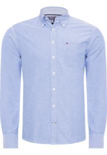 Camisa Masculina College Oxford - Azul