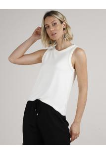 Regata Feminina Básica Decote Redondo Off White