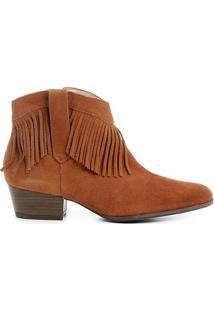 Bota Couro Country Shoestock Franja Feminina - Feminino-Caramelo