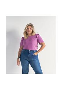 Blusa Maquinetada Em Viscose Com Babados Nos Ombros Curve & Plus Size   Ashua Curve E Plus Size   Roxo   Gg