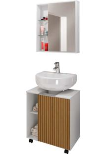Gabinete P/ Banheiro Pequin Branco/Ripado Móveis Bechara