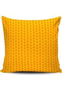 Capa Almofada Estampada Stilo Bordado Amarela 45X45Cm