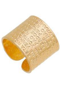 Anel Com Inscriã§Ãµes Banhado A Ouro- Dourado- Regulã¡Visabela Borgonian