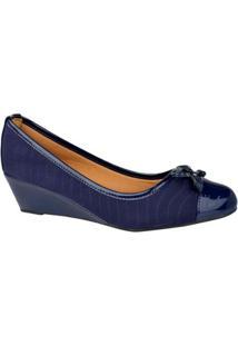 Scarpin Lore Anabela Costuras Feminino - Feminino-Azul