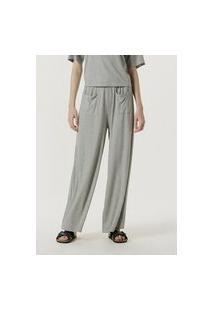 Calça Feminina Pantalona Em Malha Com Bolso