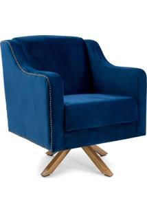 Poltrona Decorativa Sala De Estar Giratória Hana Veludo Azul - Gran Belo