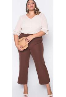 Calça Almaria Plus Size New Umbi Pantacourt Lisa M
