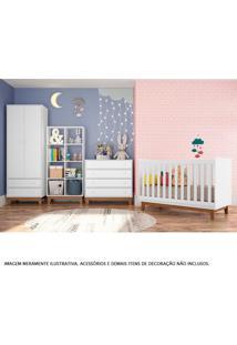 Kit Quarto Do Bebê - Linha Retrô - Berço - Cômoda E Roupeiro - Completa Móveis