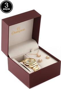 Kit 3 Pçs Relógio Champion Cn27162D Dourado