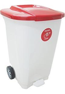 Lixeira Em Plastico T-Force Branco E Vermelho 100 Litros Com Rodas Tramontina 92815/401