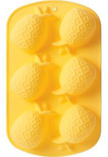 Forma De Cup Cake Abacaxi Silicone Amarelo 26X16Cm - 30262