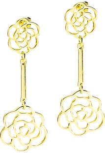 Brinco Rosas Ligadas Por Delicada Haste Semijoia Banho De Ouro 18K