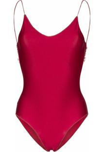 Oséree Travaille Lace Trim Swimsuit - Vermelho