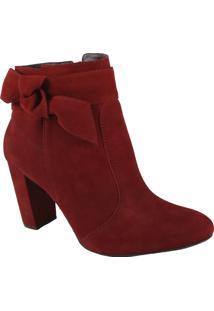 Ankle Boot Vermelho Laço