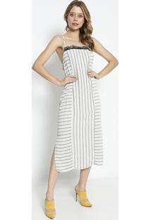 Vestido MãDi Listrado Com Renda- Off White & Cinza- Sommer