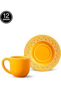 Conjunto 12Pçs Xícaras De Café Porto Brasil Cestino Amarelo