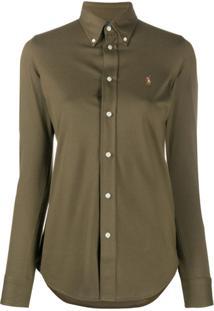 Polo Ralph Lauren Camisa De Algodão Com Logo Bordado - Verde