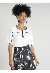 Blusa Feminina Com Vivo Contrastante Manga Curta Decote Redondo Off White