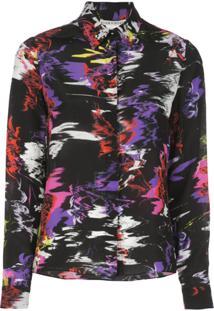 Alice+Olivia Camisa De Seda Com Estampa Abstrata - Preto