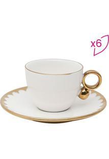Jogo De Xícaras Para Café Egg- Branco & Dourado- 6Pçrojemac