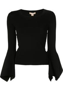 Michael Kors Collection Blusa Com Manga Sino - Preto