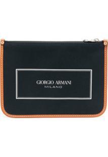 Giorgio Armani Clutch Com Estampa De Logo - Azul